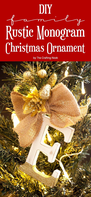 Mrs potts chip christmas decoration - Diy Family Rustic Monogram Christmas Ornaments