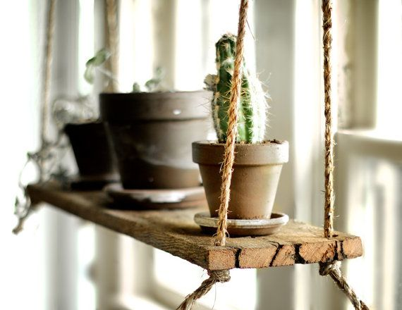 Suspended Plant Shelf Barn wood hanging shelf by GrindstoneDesign, $35.00