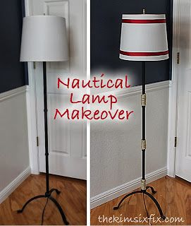 This simple addition gives a nautical lamp a DIY makeover! What a great idea!