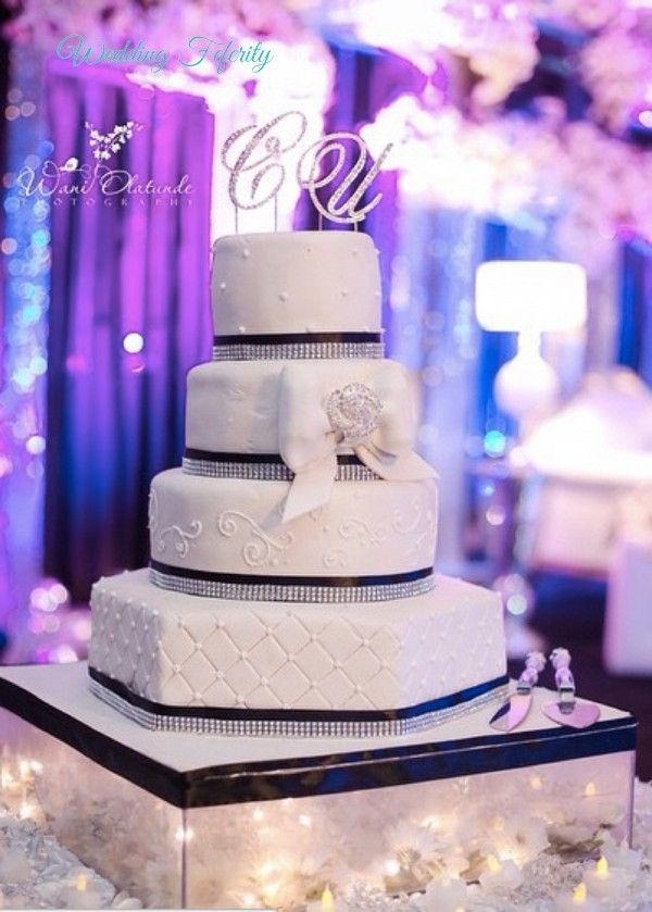 Nigerian Wedding Cakes - Stunning Photos for 2015 Nigerian Wedding Inspiration for White Weddings. From Flower adorned white cakes to unique themed cakes.
