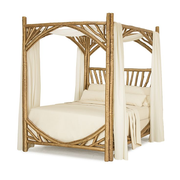 Rustic Canopy Bed #4280 (Queen) in dazzling Gold Leaf finish handcrafted by La Lune Collection