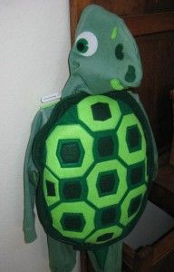Turtle costume! Made with felt, and sweat jacket and pants.