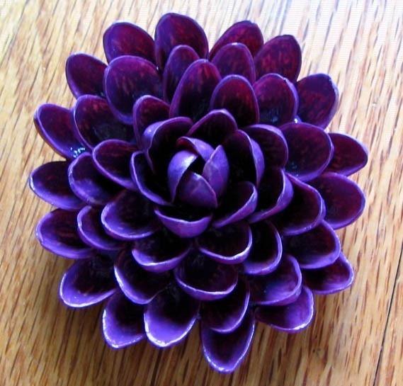 Pistachio Shell Flower Brooch --- Purple