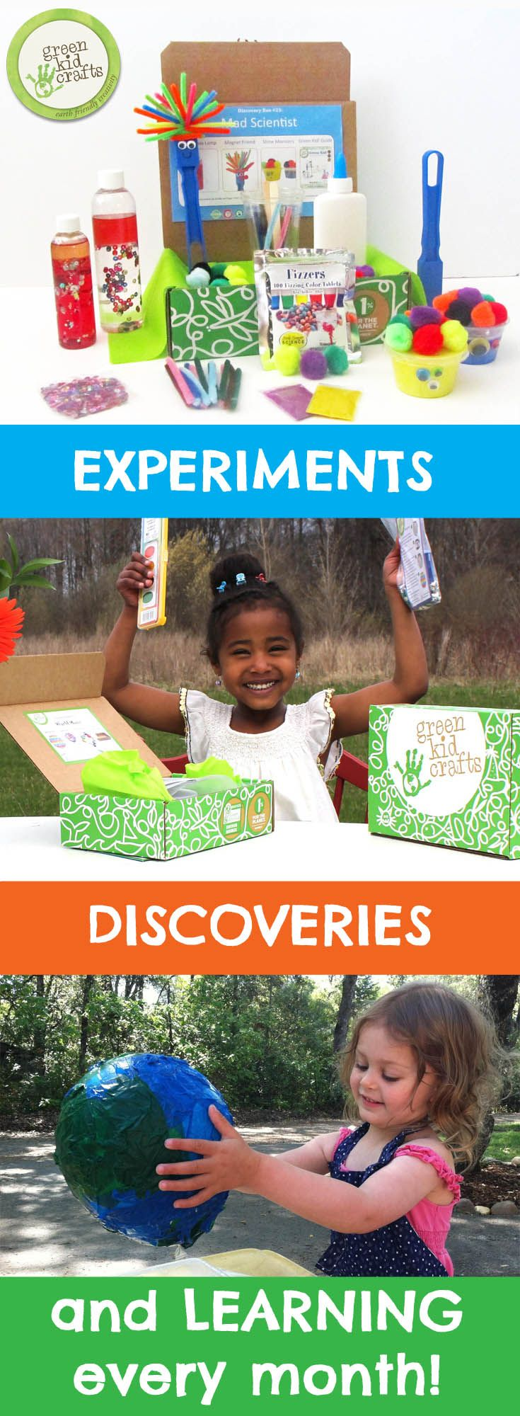 Monthly award-winning STEM and Creativity Kits for future scientists and artists!