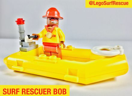 Bob in the Surf Rescue inflatable raft. Vote for a #SunSmart #Lego set starring heroes wearing sunscreen at http://bit/ly/legosurfrescue. #Legoideas #Melanoma #SkinCancer #Cancer #Australia #SurfLifeSaving