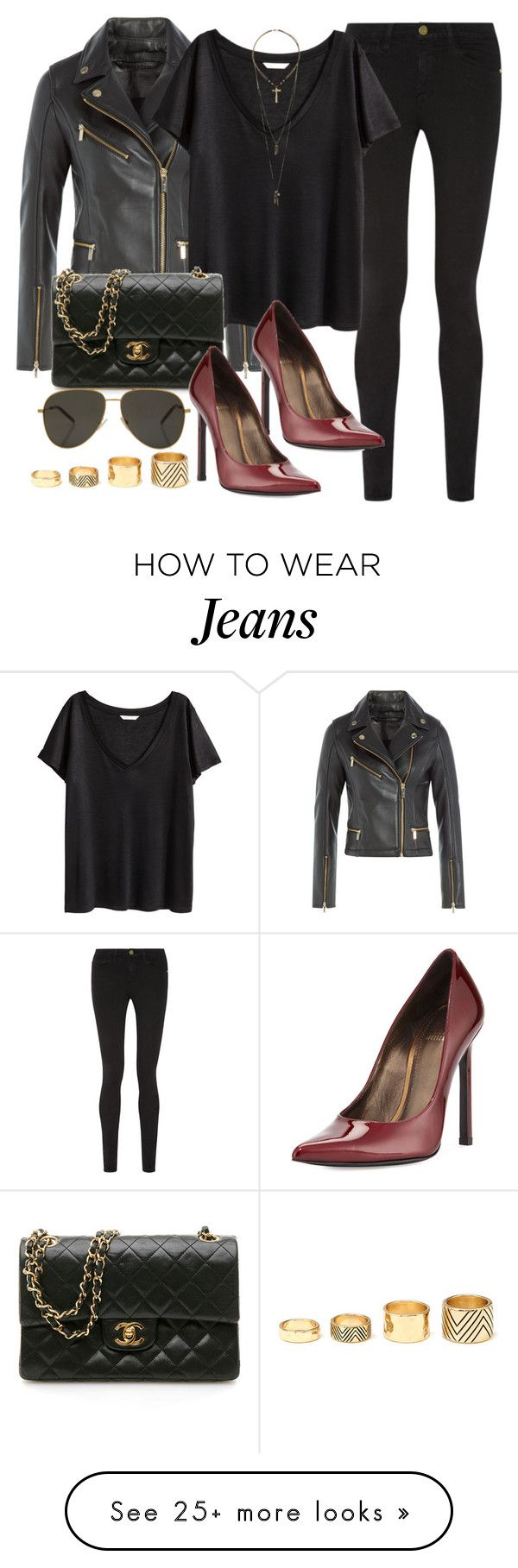 """""""Style #9448"""" by vany-alvarado on Polyvore featuring Karl Lagerfeld, Frame Denim, H&M, Stuart Weitzman, Chanel, Yves Saint Laurent, Relic and Forever 21"""