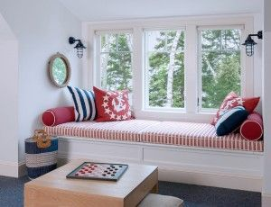 Wide window seat. when building a window seat make sure to design it wide enough for naps. #widewindowseat #windowseat   Banks Design Associates