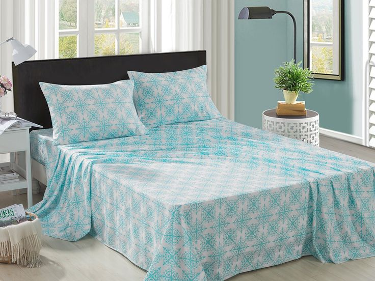 HollyHOME Collection 4 Pieces Ultra Soft Printed Bed Sheet Sets-Hypoallergenic Brushed Microfiber- Wrinkle and Fade Resistant, Damask Teal, Twin