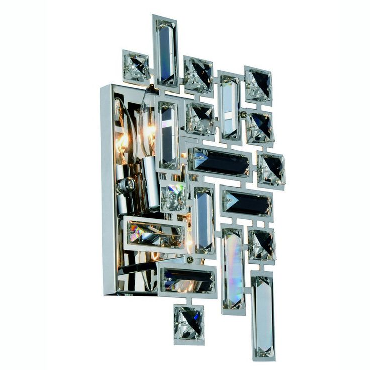 "Picasso Collection Wall Sconce W:8"" H:12"" E:3.5"" Lt:2 Chrome Finish Royal Cut Clear. Picasso Collection Wall Sconce W:8"" H:12"" E:3.5"" Lt:2 Chrome Finish Royal Cut Clear  Watts: Lumens: Lamp Type: Shape: Style:Contemporary Light Bulbs:2 Bulb Type:E12 Bulb Wattage:40 Max Wattage:80 Voltage:110V-125V Finish:Chrome Crystal Trim:Royal Cut Crystal Color:Clear Hanging Weight:2.5"