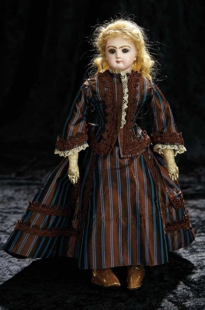 Soirée: A Marquis Cataloged Auction of Antique Dolls and Automata - May 14, 2016: Lot 50. French Bisque Poupee with Dramatic Amber Eyes by Emile Jumeau
