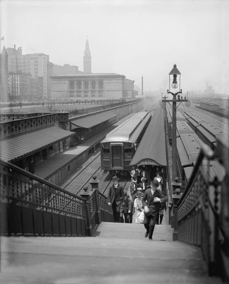 Van Buren Street Station, Illinois Central Railroad, Art Institute, 1907.  Detroit Publishing Company.  via: Chicago Past