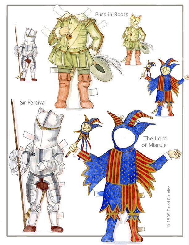 CLARENCE'S EIGHT LIVES <> A Cat Paper Doll in Watercolor  <> Clarence is no ordinary cat. He can imagine himself throughout history. PUSS-N-BOOTS <> SIR PERCIVAL <> THE LORD OF MISRULE <> All illustrations are ©1999 David Claudon. 2 of 3