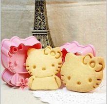 Darmowa wysyłka 2PCS Hello Kitty kształtu formy cukru Arts zestaw narzędzi Placek kremówki Plastikowe foremki akcesoria kuchenne (Chiny (kontynentalne))