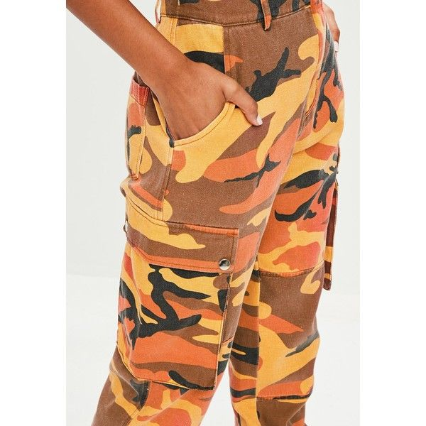 Missguided Premium  Camo Printed Cargo Trousers ($79) ❤ liked on Polyvore featuring pants, camouflage pants, side pocket pants, cargo trousers, elastic ankle pants and elastic-cuff pants