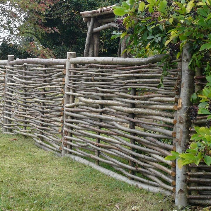 wattle fence. I can do this! We have stacks of cut applewood branches that might work.