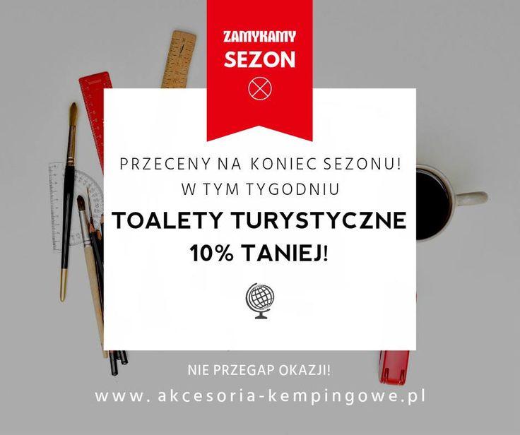 """Uwaga! W tym tygodniu przeceniamy wszystkie toalety turystyczne!  Znajdź produkt w sklepie Akcesoria-kempingowe.pl, w polu """"Kod kuponu"""" wpisz hasło """"zamykamysezon2016"""" i gotowe! Oferta ważna do 27 września!  http://www.akcesoria-kempingowe.pl/woda/toalety-turystyczne/"""
