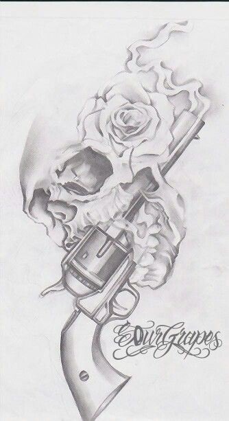 skullw/rose earbuds/headphones, music exhales mouth, no gun.