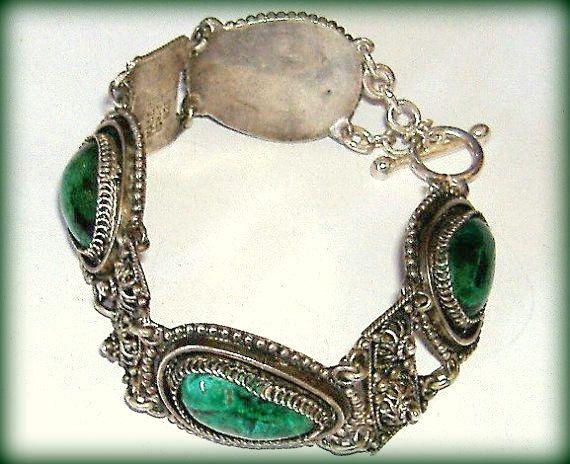 Vintage MALACHITE and 925 SILVER bracelet ~  Statement Bracelet Made in Israel ~ Hippie Boho Gipsy Jewellery by CatsAndHatsVintage on Etsy