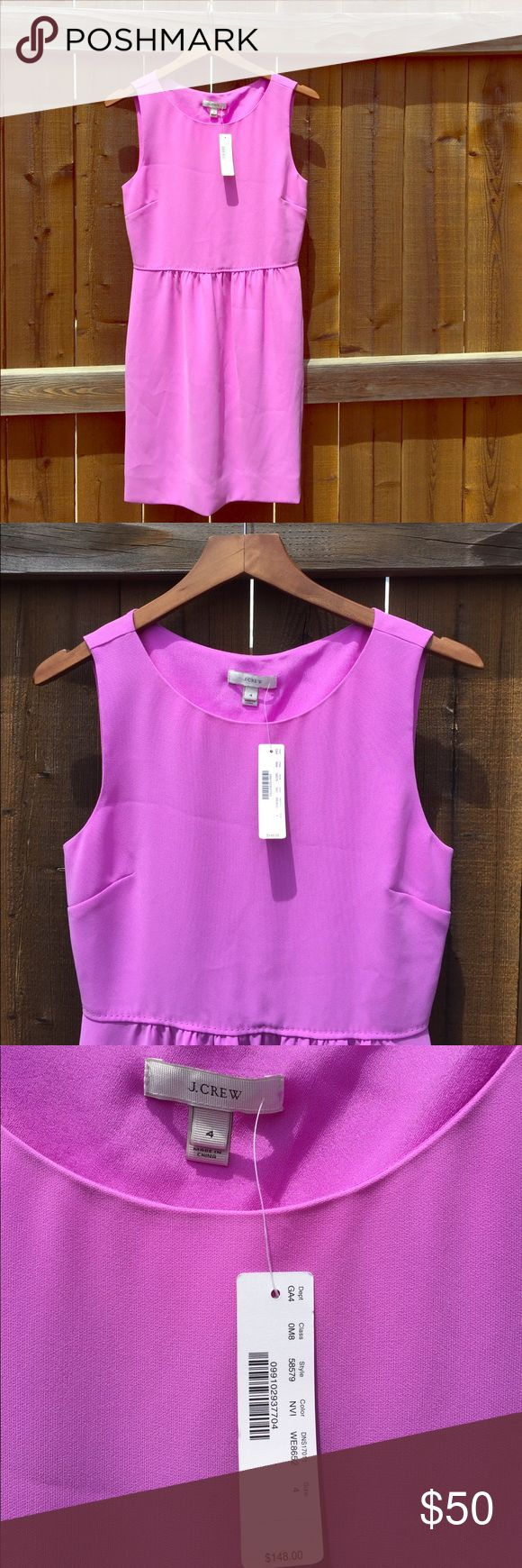 Business or going out J. Crew dress! New Violet (bubblegum pink/ purple) J. Crew dress. Never been worn -- I inherited it from my sister & it fits great but I just don't wear pinks :/. I'm 5'6 & wear size 4 or 6 (34D bra & 27.5 waist & 37 hip). Trying on this dress in comes to just above knee length. J. Crew Dresses