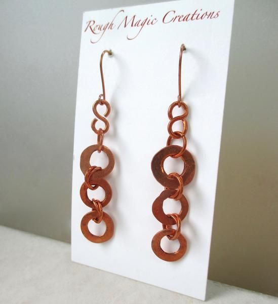 Long Earrings, Rustic Copper Shoulder Duster Dangles, Boho Jewelry, Eco Friendly Hammered Metal by Rough Magic Creations