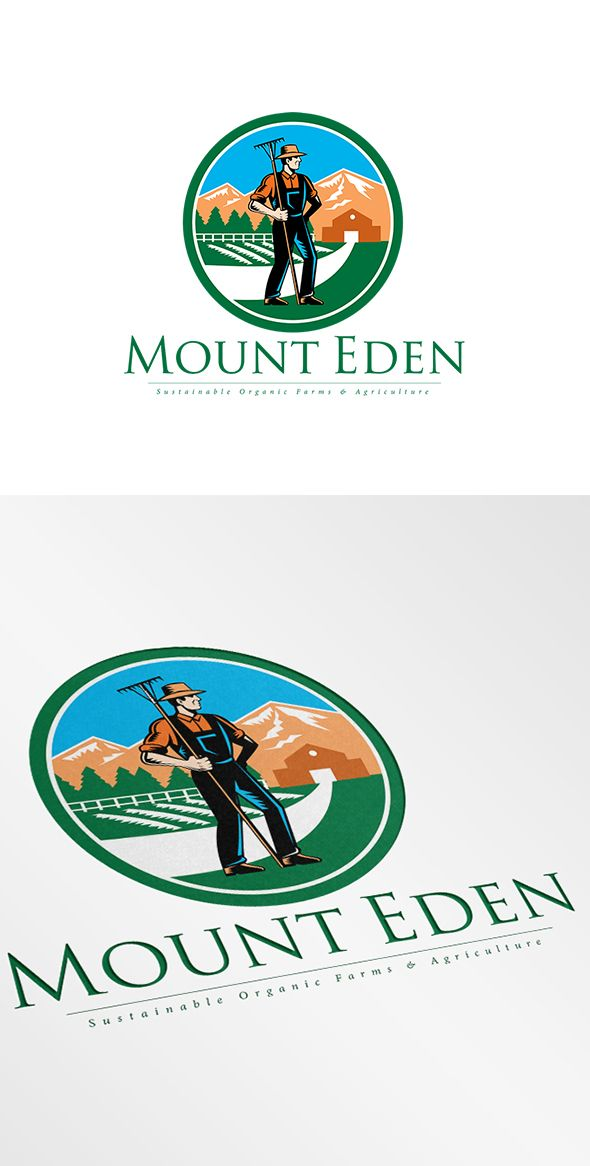 Mount Eden Agriculture Logo. Logo showing illustration of organic farmer with rake facing side set inside circle with mountain trees house farm barn in the background done in retro woodcut