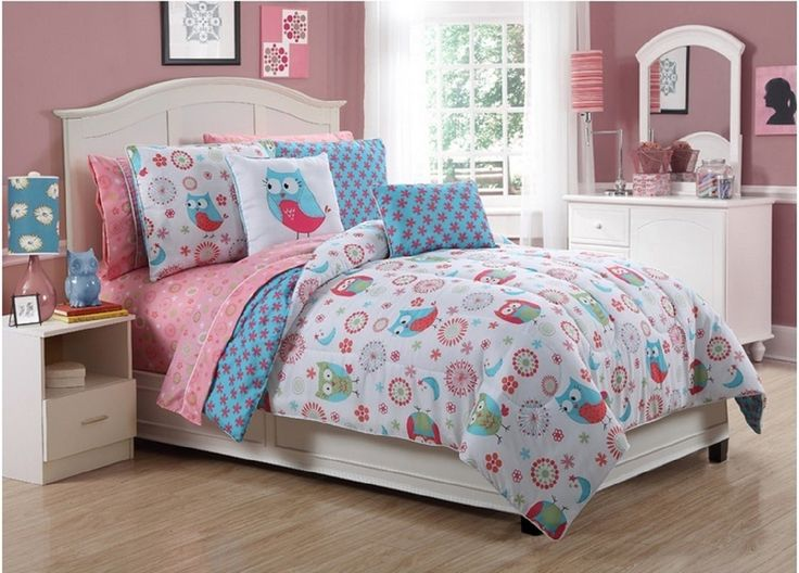 vibrant flowers and owls bed in a bag comforter set with sheets twin full sizes. Black Bedroom Furniture Sets. Home Design Ideas