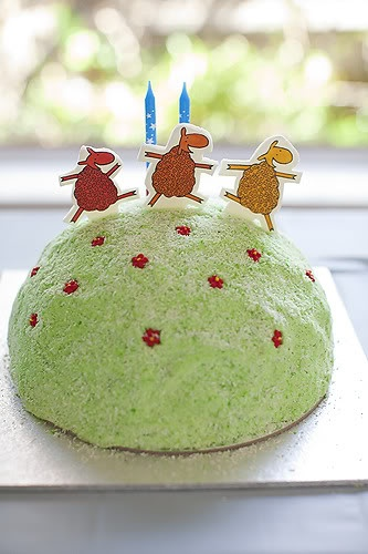 Where is the green sheep cake
