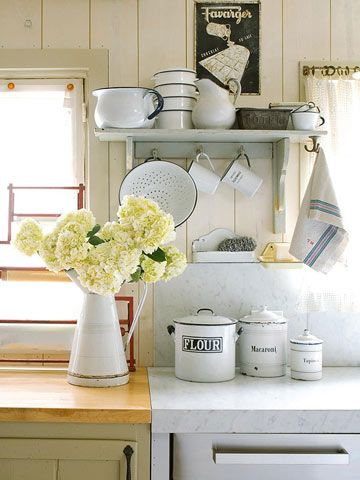 simple shelf with cup hooks below and hook on side for dishtowel for left of sink - JUST MAKE IT LISA!