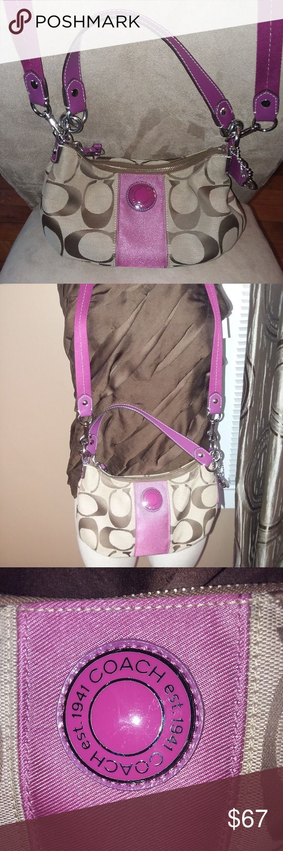 """Coach Hobo Bag w/Purple Accent Very pretty small Coach Hobo Shoulder/Handbag is perfect for a """"first"""" Coach. This bag has a detachable longer velvet strap for cross body wear. Purple accent accentuate this bag.  Key chain is also attached. Dimensions: 23"""" drop (longer detachable strap), 9"""" small drop strap 5"""" Height 9""""Length and 3"""" width. This bag is in perfect condition. No signs of use. Coach Bags Hobos"""