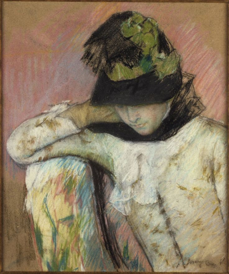 "americanart: "" Young Woman in a Black and Green Bonnet, 1890 Mary Cassatt (US, 1844 - 1926) """
