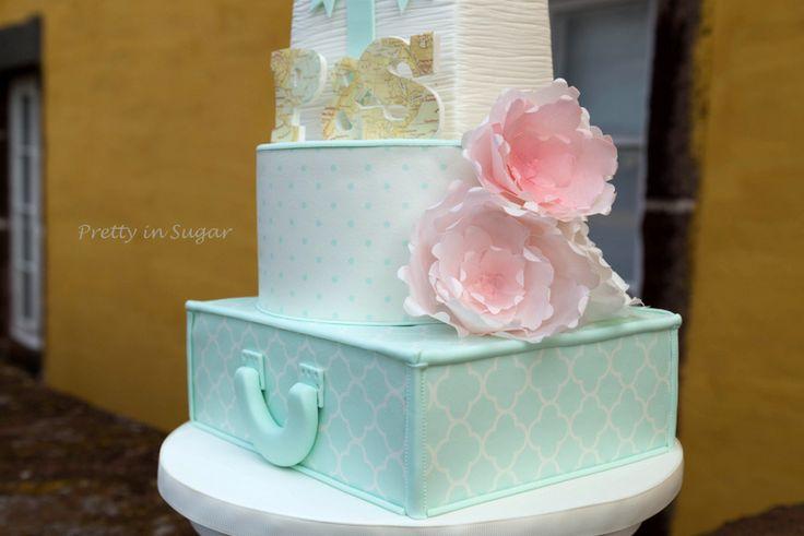 Bolo efectuado para concurso da revista Cake Central: Vintage Maps Wedding | Alex Maio Photography | Location Forte de São Tiago | cake stand Coco&Baunilha