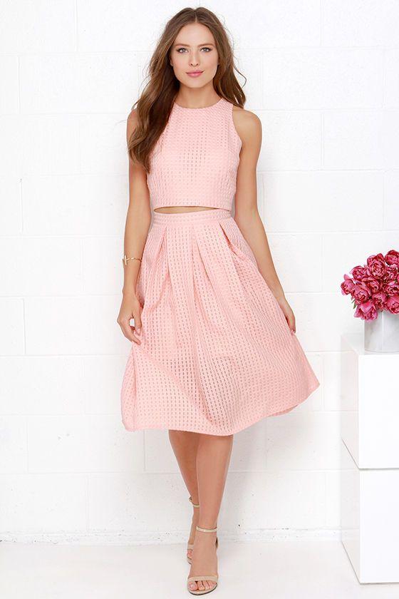 Sweet Sorbet Peach Two-Piece Midi Dress at Lulus.com!
