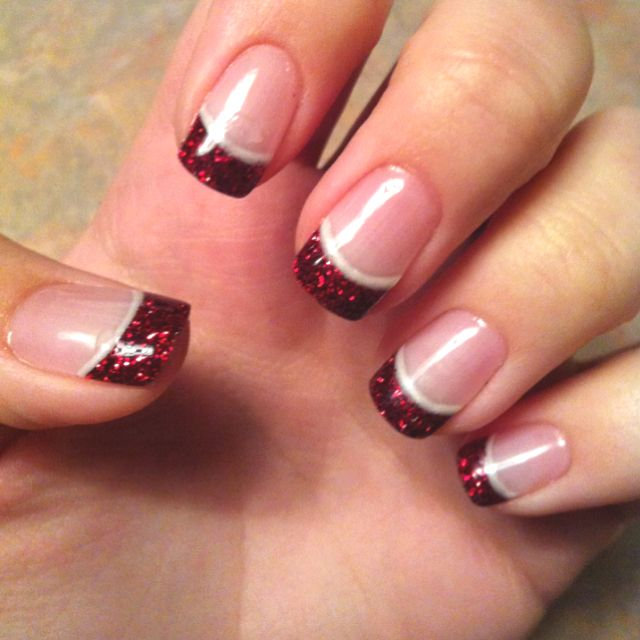 French Manicure with red glitter tips...maybe cute for Christmas?