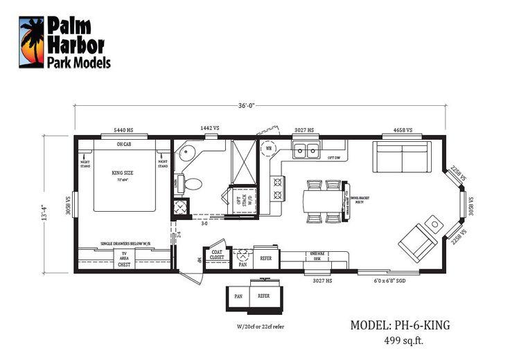 Palm harbor style park model ph 6 king 499 sq ft 976 681 tiny house petite for Park model floor plans 2 bedroom