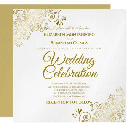 Zazzle Wedding Invitations.Gold Faux Foil Simple Elegant Square Wedding Invitation Zazzle Com