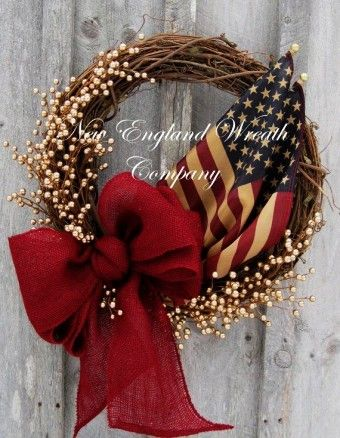 Red Burlap Bow for Memorial Day Patriotic Wreath