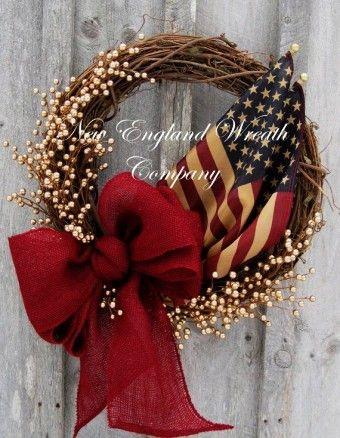 Red Burlap Bow for Memorial Day Patriotic Wreath
