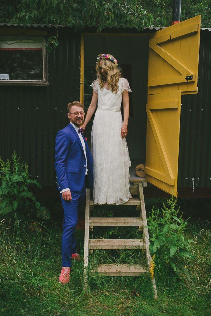 The beautiful boho bride wears a Charlie Brear dress and veil for her woodland festival wedding at Hawthbush Farm in Sussex. Photography by Modern Vintage Weddings, visit modernvinteageweddings.com.