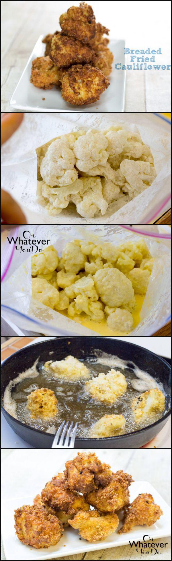 Breaded Fried Cauliflower I www.orwhateveryoudo.com I #recipe #appetizer #cauliflower