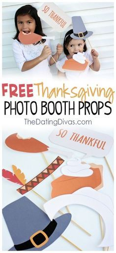 How cute are these free Thanksgiving photo booth props!
