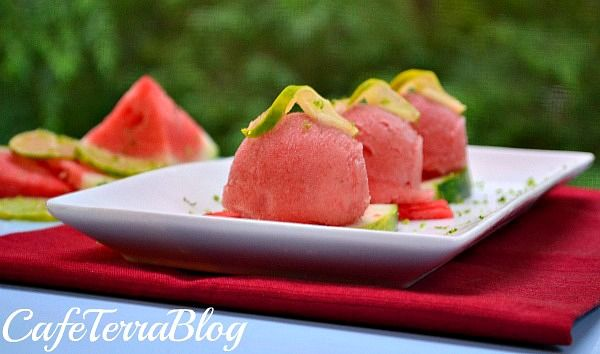 Refreshing! Watermelon Lime Sorbet from Cafe Terra