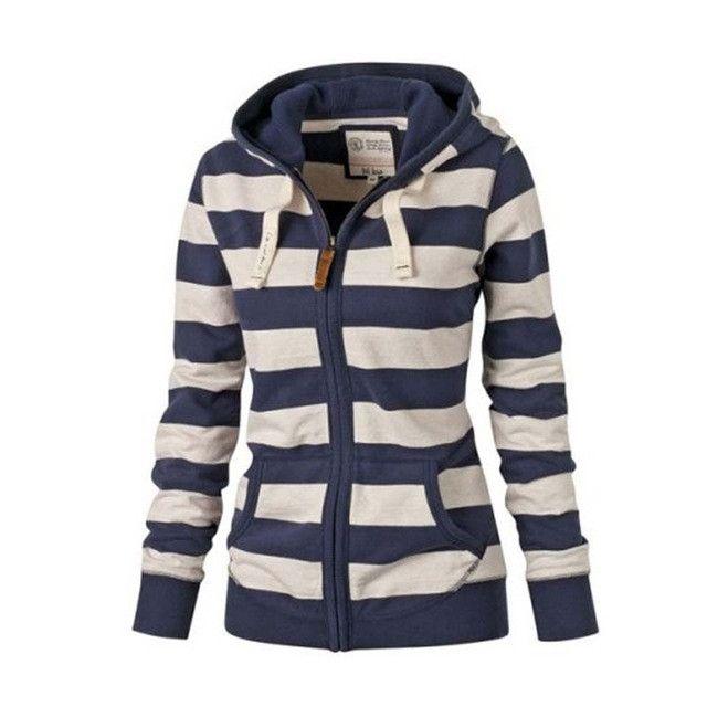 Women Striped Hoodies 2017 Autumn Winter Women Cotton Striped Zipper Hoodies Sweatshirt Casual Pullover Tops Polerones Mujer