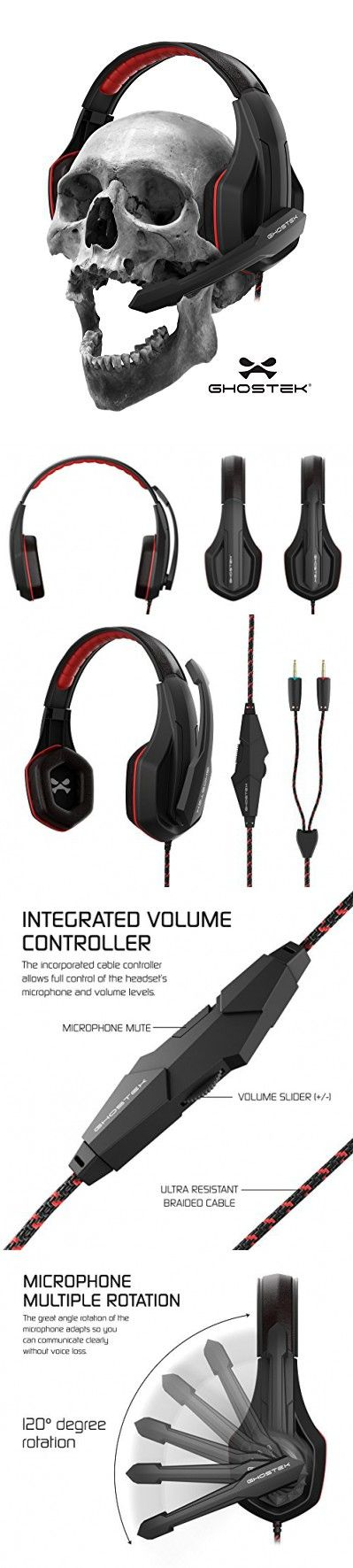 Ghostek Hero Series Gaming Headphones Over-Ear | 3.5MM Jack | PC Video Gaming |120° Microphone Rotation + Mute Switch | Integrated Volume Control | Ultra Resistant Braided Cable (Red)