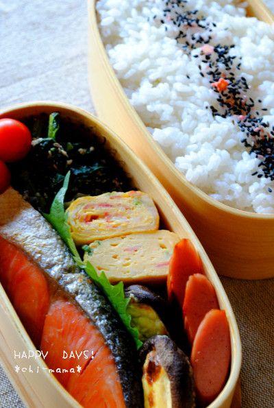 Grilled Salmon, shiitake mushrooms, omelette, sesame komatsuna, rice, and cherry tomatoes.