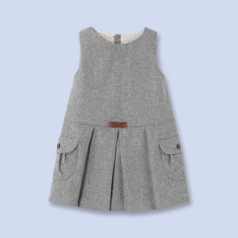 Bow trimmed flannel dress - Girl - CHINE GREY - Jacadi Paris