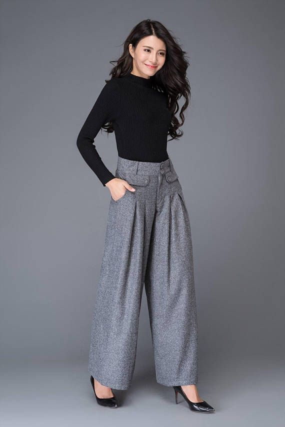 Gray wool pants, maxi wool pants, wide leg pants, womens pants, winter pants, warm pants, winter warm pants, wool palazzo pants C1001