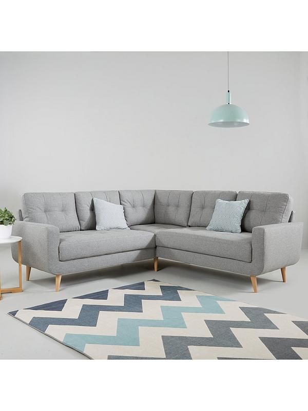 Skandi Fabric Corner Group Sofa Living Room Decor Neutral Corner Sofa Corner Sofa Uk
