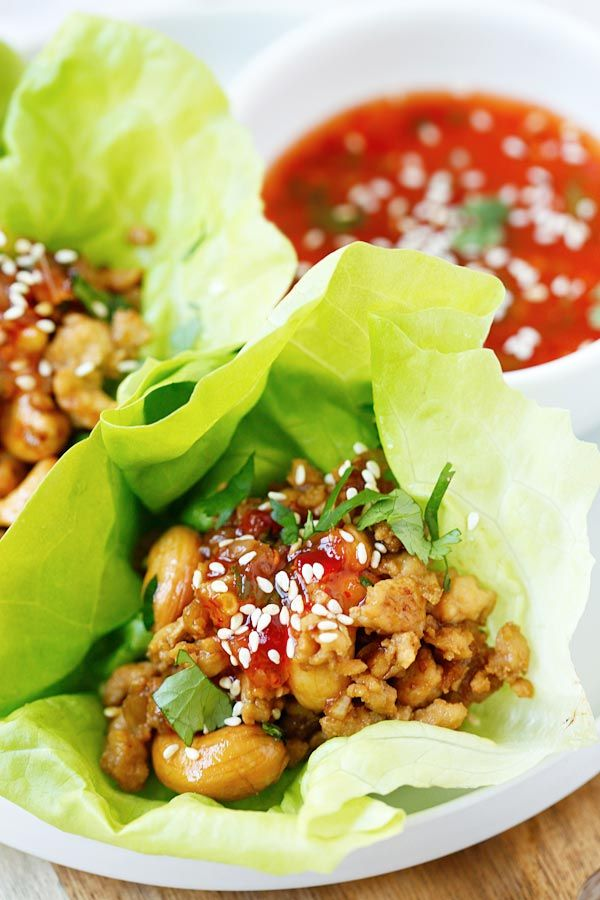 Thai Chicken Lettuce Wraps - easy, healthy and delicious chicken wraps with Thai sweet chili sauce. Takes 20  mins to make you'll want it every day | rasamalaysia.com
