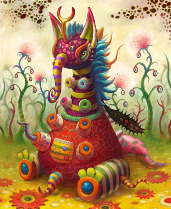 20 Mind Blowing Paintings by Yoko D Holbachie – Colorful, Charming and Disturbing Beasts