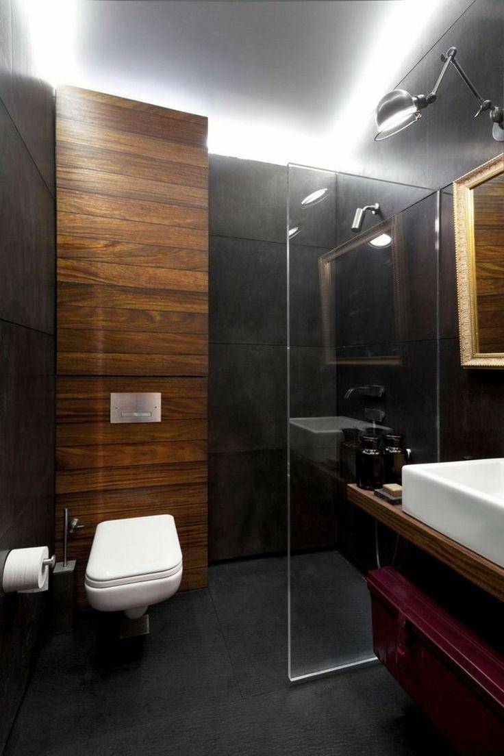 salle de bain noir et bois et lambris bois, carrelage mural gris anthracite et paroi de douche en verre